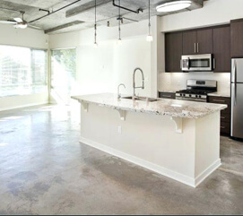 Residential kitchen floors polished concrete contractors in Orange county